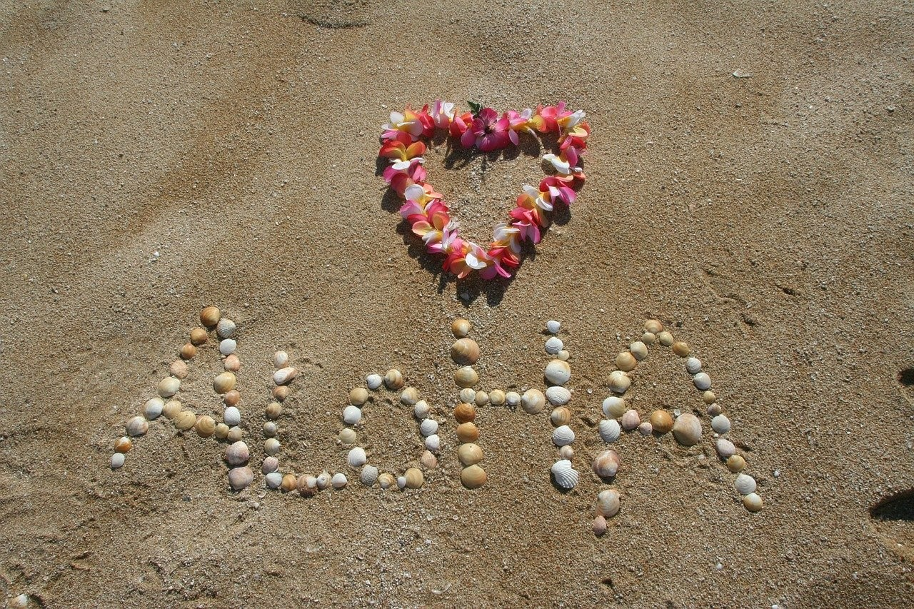 砂浜に描かれたアロハの文字
